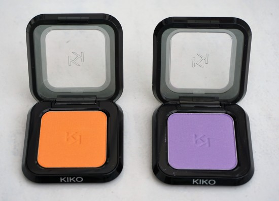 Kiko High Pigment Eyeshadows in 20 Pearly Tangerine (left) and 4 Pearly Violet (right)
