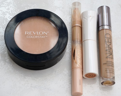 Left to Right: Revlon Colourstay Pressed Powder in Light-Medium, Maybelline Dream Lumi Touch Illuminating Concealer in 20 Ivory, No 7 Match Made Concealer Stick in Deeply Ivory, Urban Decay Naked Skin Complete Coverage Concealer in Medium-Light Neutral
