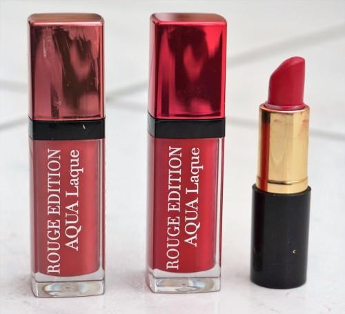 Left to Right: Bourjois Rouge Edition Aqua Laque in 01 Appechissant, Bourjois Rouge Edition Aqua Laque in 07 Fuschia Perche, Bare Minerals Marvellous Moxie Lipstick (mini version) in Risk it All